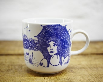 LONA porcelain coffee mug, tea cup by Ahoi Marie - nautical cup - maritime style - blue and white - navy blue