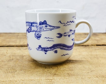 Fishes porcelain coffee mug, tea cup by Ahoi Marie - nautical cup - maritime style - blue and white - navy blue