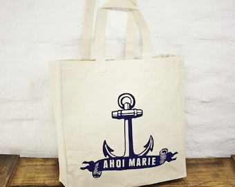 Large anchor nautical canvas shopper, beach bag, tote bag - maritime style - blue white on natural cotton canvas - long carry handles