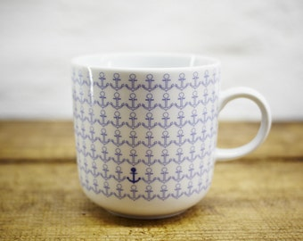 ANCHOR porcelain coffee mug, tea cup by Ahoi Marie - nautical cup - maritime style - blue and white - navy blue