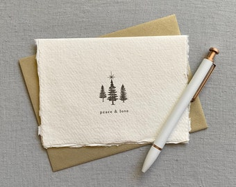 Peace and Love // letterpress card, holiday birthday, Christmas card, Christmas tree, Christmas star. handmade paper, deckled edge paper