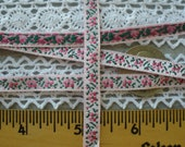 Embroidered Pink Floral Jacquard Ribbon 7mm woven edge tiny little rosebuds trim embellishment yardage made in Switzerland 100 Viscose