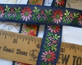 Jacquard Ribbon Ombre Pink Flowers Navy blue Made Switzerland 21mm woven trim by the yard embellishment yardage Rayon costume