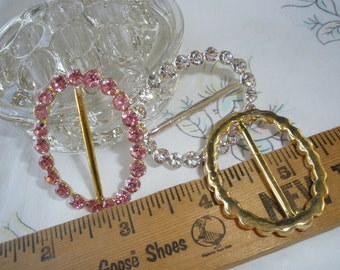 35MM Oval Clear or Pink Rhinestone ribbon scarf slide buckle silver gold  color metal faceted embellish fancy 1 3 8