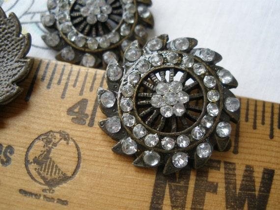 Filigree metal rhinestone shank buttons bronze sun star design 40L 1 20mm acrylic stones retro boho art deco 2 pieces