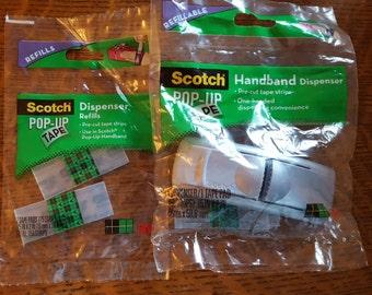 Scotch 3M Pop-Up Tape Handband Dispenser & 2 refills 200 Pre-Cut Strips giftwrap one-hand dispensing refillable craft tool Silver dispenser