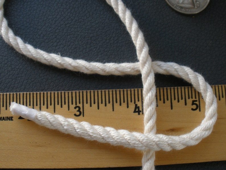 Macrame Cord Natural Color Cotton 3 Strand Twist Rope 14 DRAWSTRING 3-ply twisted 6MM cord 144 yards spool