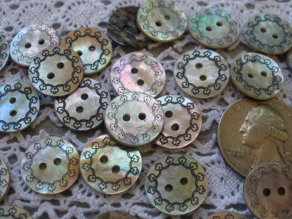 6 PINK Fish Shaped  Agoya Shell Buttons