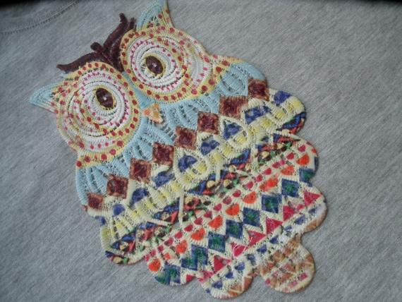 cd6738eaff6aa Boho Tribal Pattern Screen print Owl applique 6 x