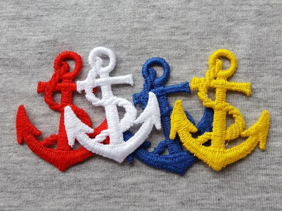 White Anchor with Rope Embroidered Iron On Patch Applique 2 Inches