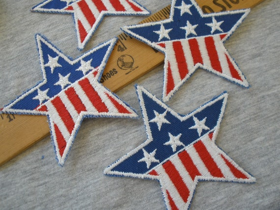 White /& Navy Patriotic Stars Embroidered Iron On Patches-Set Of 3 Red