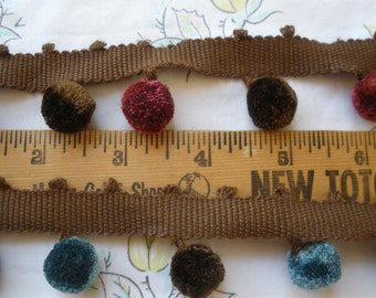 Wholesale Cotton Pom Pom Trim Seal Brown & Steel Blue or Wine poms 10 yards upholstery pillow lamp shades vintage retro embellish home decor