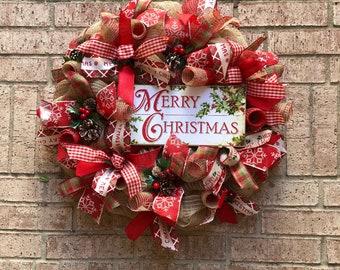 merry christmas wreath deco mesh christmas wreath farmhouse wreath holiday wreath christmas wreath front door decor - Deco Mesh Christmas Wreath