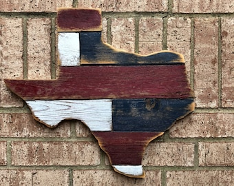Texas State Wood Sign   Reclaimed Wood Cut Out Texas Wood Cut Out   Home  Decor   Patio Decor   Red White Blue Ready To Ship