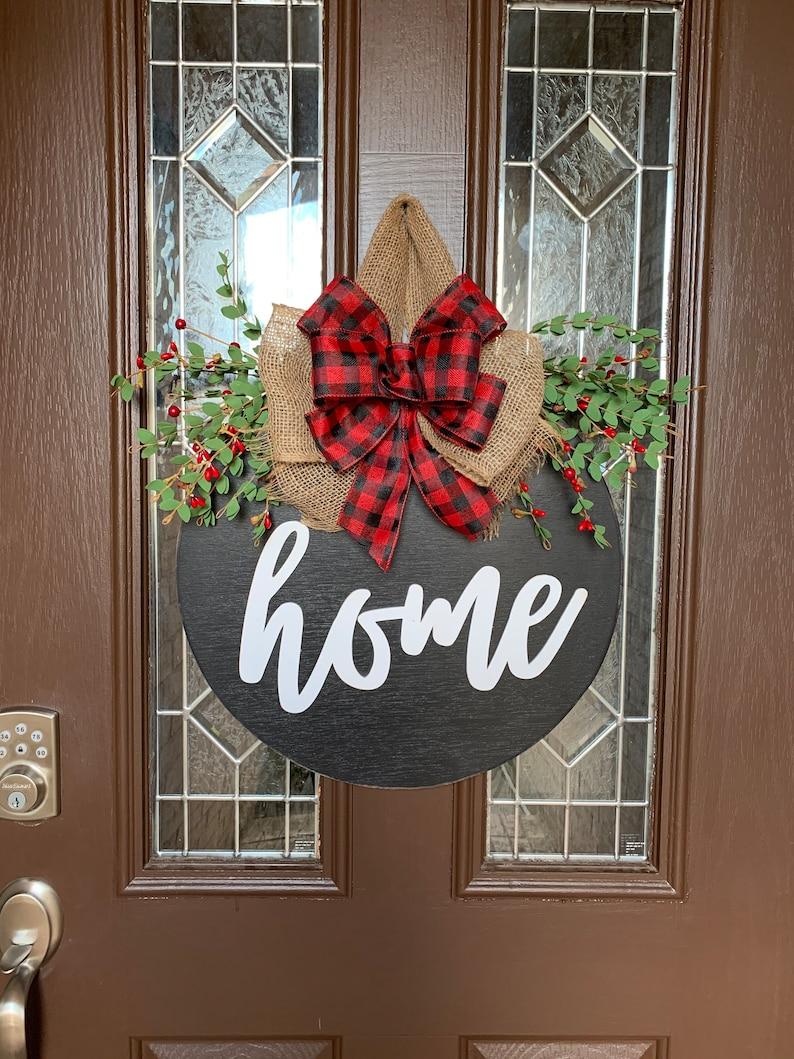 Christmas Home Sign Buffalo Plaid Front Door Decor Door image 0