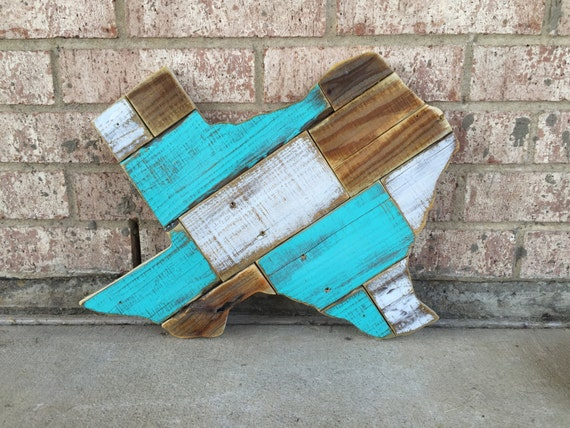 Texas State Wood Sign Reclaimed Wood Cut Out Turquoise Texas | Etsy