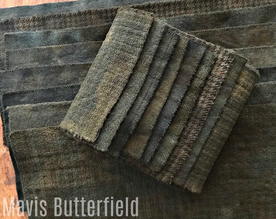 Hand Dyed Wool Fabric, 8 Antique Black Fat 1/16 Sixteenth for Primitive Rug Hooking