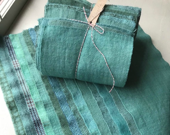 Hand Dyed Wool Fabric, 14 Robin's Egg Blue Fat 1/16 Sixteenth for Primitive Rug Hooking