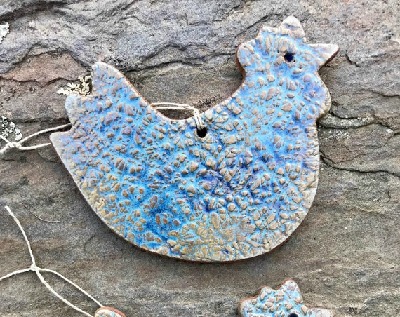 Rustic Chicken Redware Pottery Ornament ~ Nantucket Blue