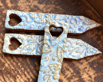 Set of 3 Redware Pottery Vegetable - Garden - Herb - Plant Markers in Ocean Blue {{Heart}}