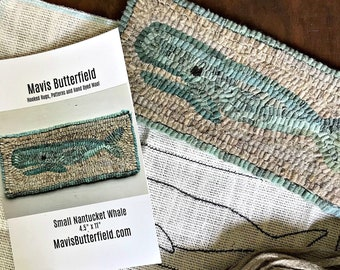 RUG HOOKING KIT for Beginners - Small Nantucket Whale - on Linen with Hand Dyed Wool