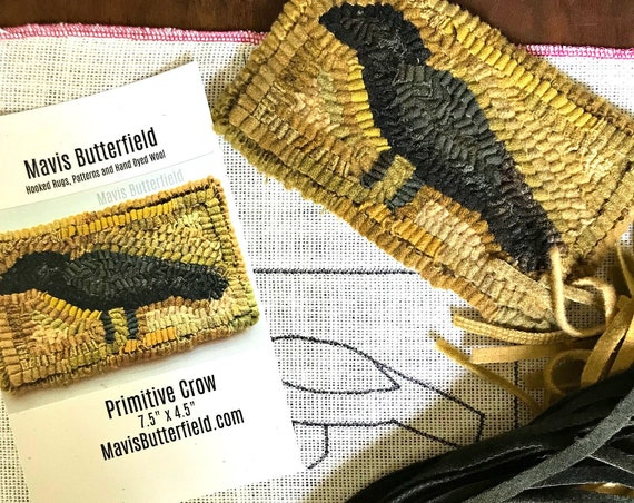 RUG HOOKING KIT for Beginners - Primitive Crow - on Linen with Hand Dyed Wool