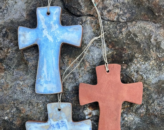 Rustic Cross Redware Pottery Ornament in Ocean Blue