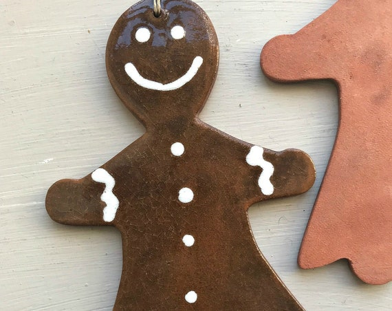 LARGE Rustic Gingerbread Girl Redware Pottery Ornament