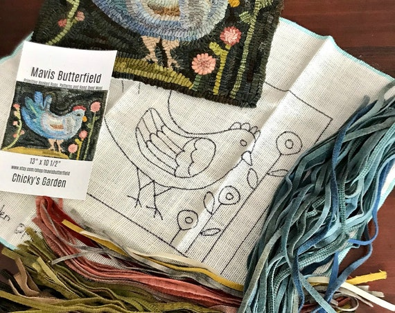 RUG HOOKING KIT - Chicky's Garden on Linen