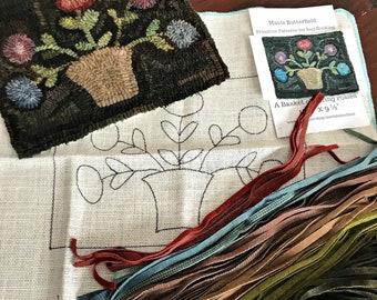 RUG HOOKING KIT - A Basket of Spring Posies on Linen