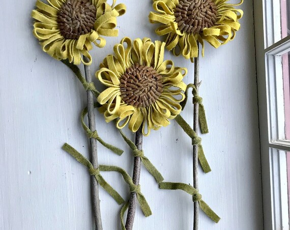 Set of 3 Primitive Hooked Rug Folk Art Sunflowers ~ Wool Flowers ~