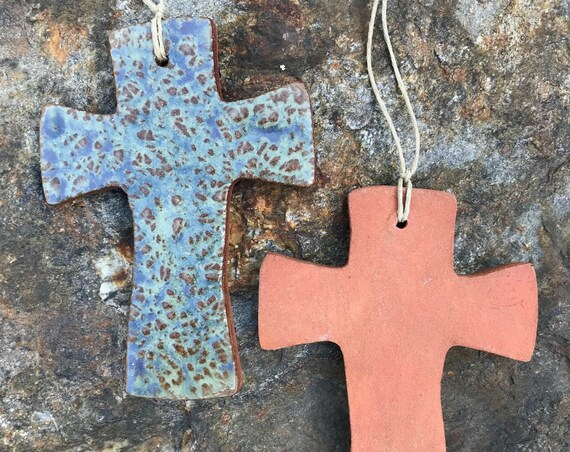 Rustic Cross Redware Pottery Ornament in Aquinnah