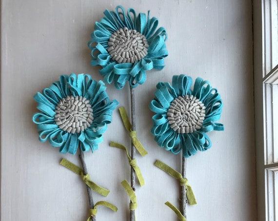 Set of 3 Primitive Folk Art Wool Hooked Rug Flowers  ~ Robin's Egg Blue
