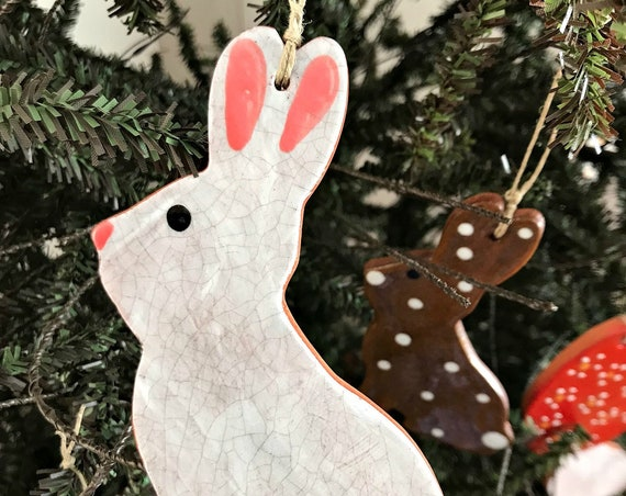 White Chocolate Easter Bunny with Pink Ears Redware Pottery Ornament