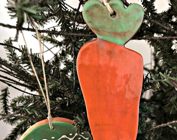 Easter Carrot Redware Pottery Ornament