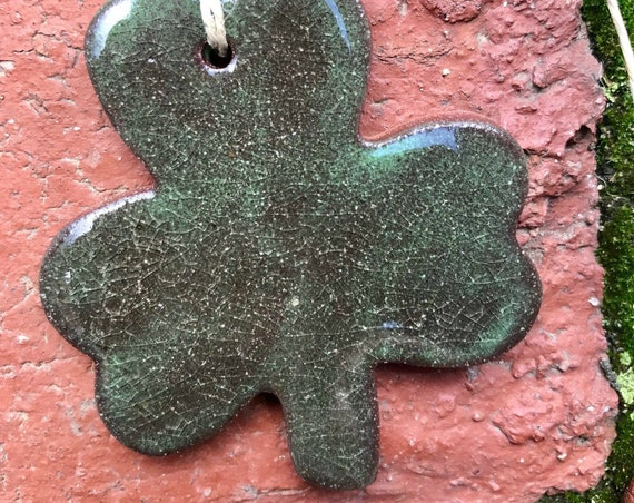 Rustic Shamrock Redware Pottery Ornament