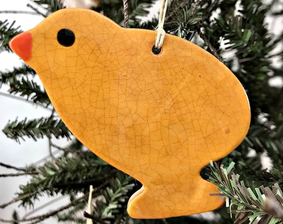 Easter Chick Yellow Peep Redware Pottery Ornament