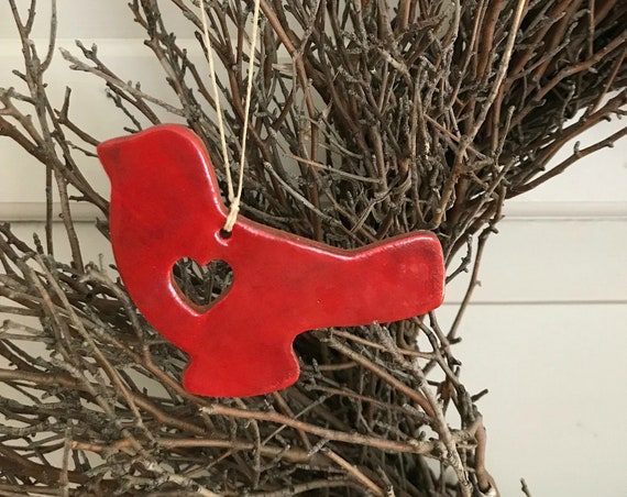 Rustic Red Bird Redware Pottery Ornament