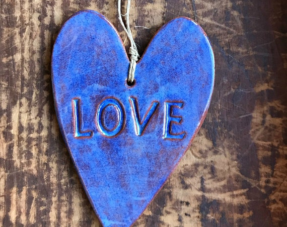Rustic Redware Pottery ~ Blue Valentine Heart ~ LOVE ~ Valentine's Day