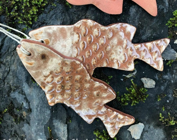 Rustic Fish Redware Pottery Ornament - Nutmeg Brown