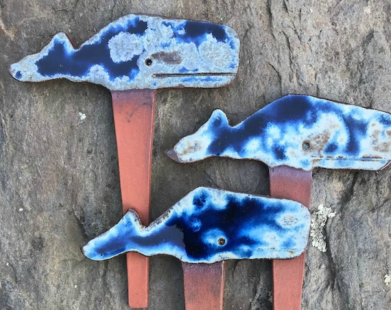 Cobalt Blue ~ Whale Vegetable Garden Herb Plant Markers ~ New England, Cape Cod, Nantucket Style Folk Art
