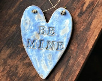 Rustic Redware Pottery ~ Ocean Blue Valentine Heart ~ Be Mine ~ Valentine's Day