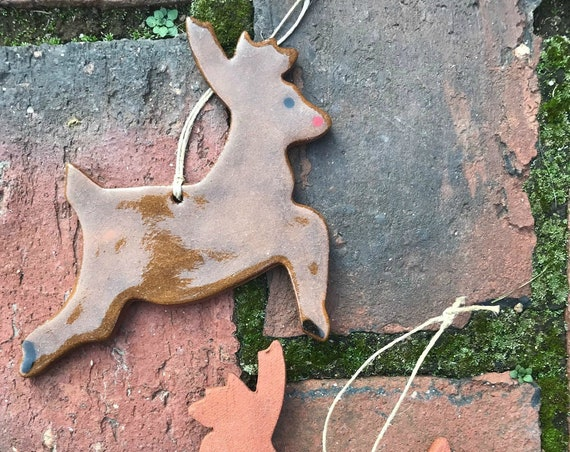 Rustic Reindeer Redware Pottery Ornament