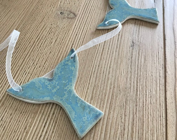 Handmade Whale Tail Pottery Garland ~ Banner ~ Cape Cod Blue