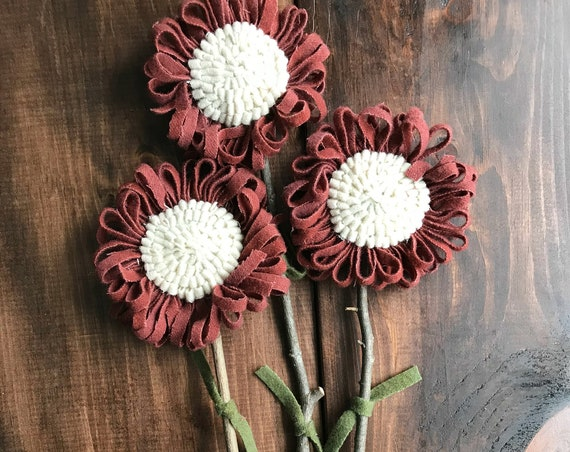Set of 3 Primitive Folk Art Hooked Rug Flowers  ~ Red with Cream Center ~