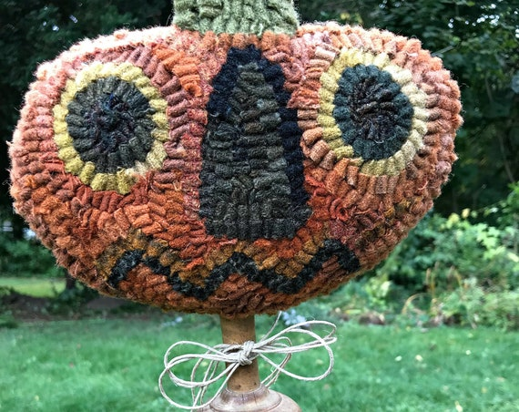 Primitive Halloween Wool Hooked Rug Pumpkin Make Do on Antique Wooden Masher