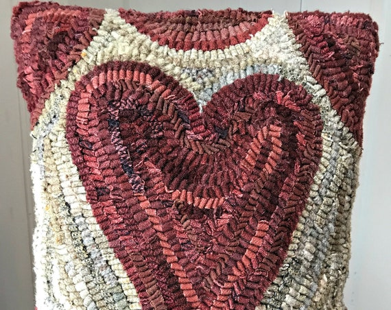 Folk Art Primitive Wool Hooked Rug Pillow ~ Antique Red Heart