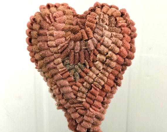 Primitive Wool Hooked Rug Heart Make Do on an Antique Oil Can