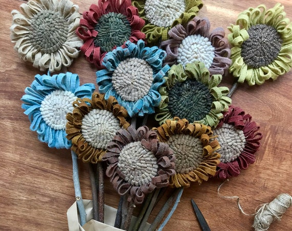 Set of 12 Primitive Folk Art Wool Hooked Rug Flowers ~ Drab Colors ~