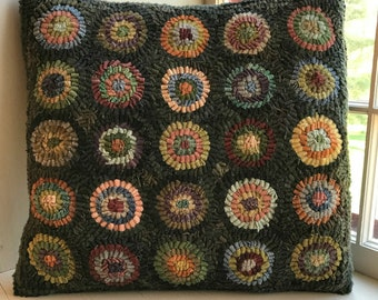 Primitive Folk Art Wool Hooked Penny Rug PILLOW Sampler Early Style